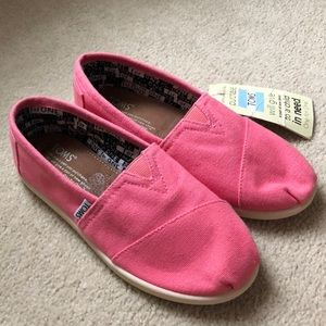 Toms Youth Classics Pink Canvas size 3